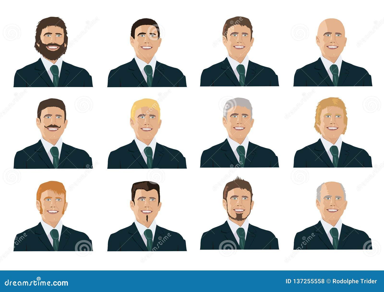 Plusieurs portraits des hommes, de toutes les générations avec différents styles