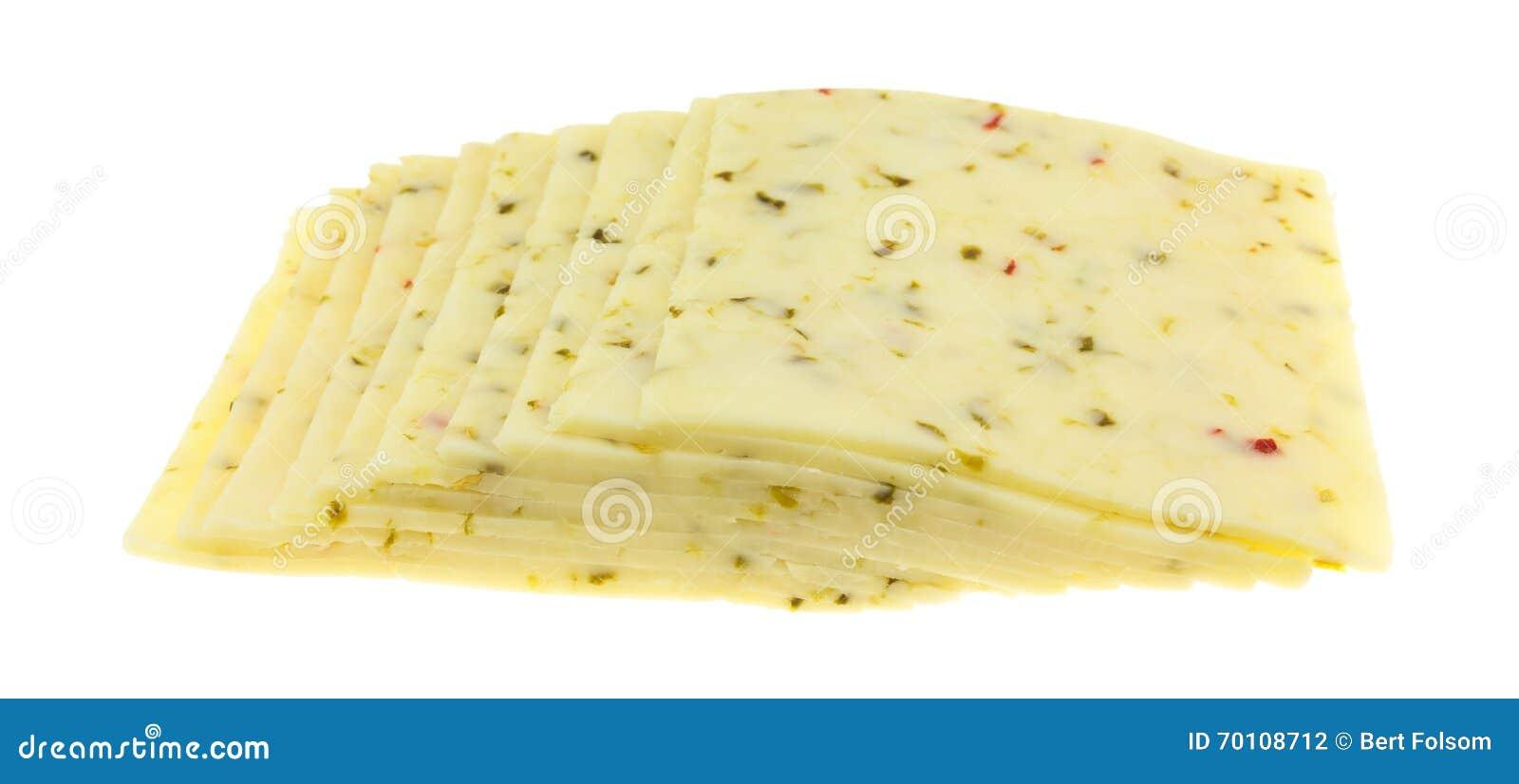 Plusieurs tranches de vue de côté de fromage Jack de poivre