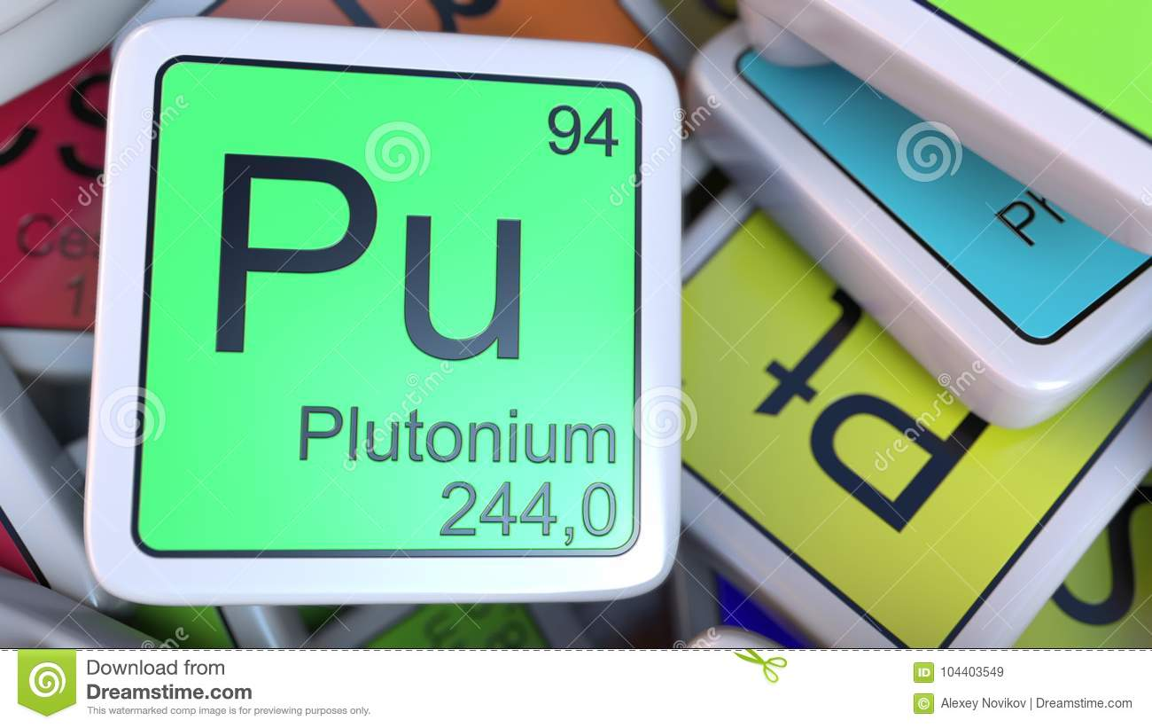 Plutonium Pu Block On The Pile Of Periodic Table Of The Chemical