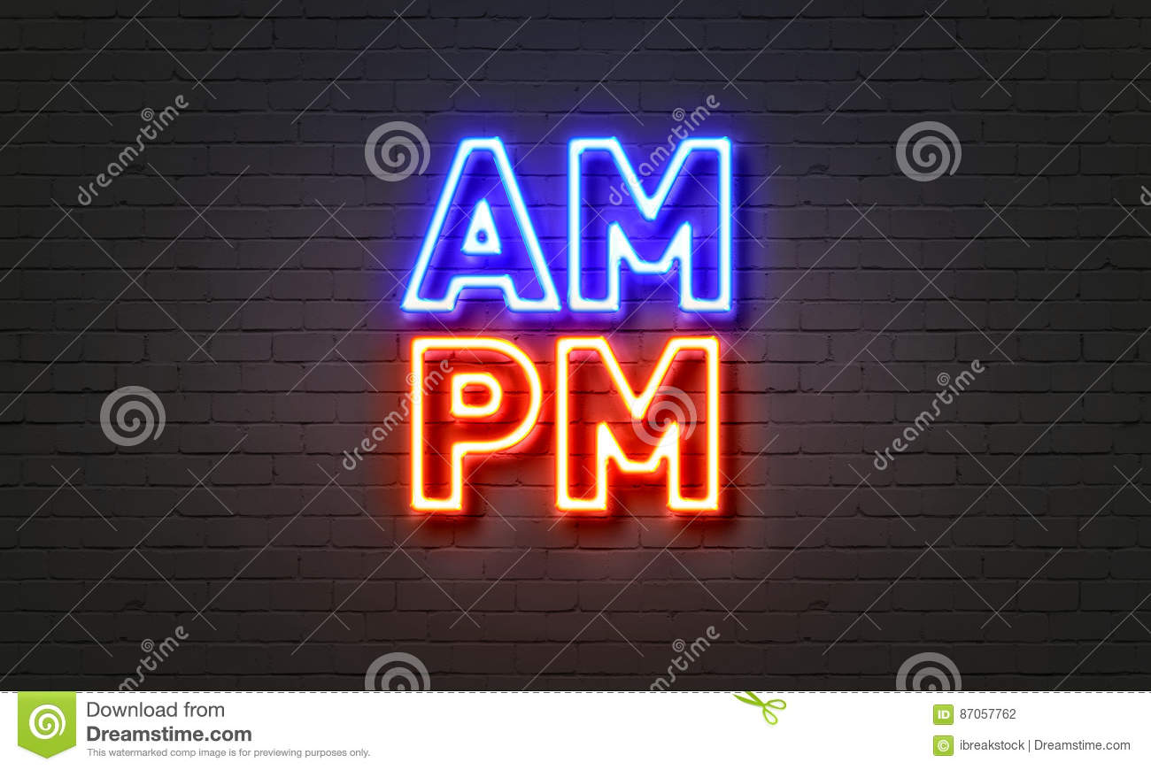 am pm neon sign on brick wall background stock photo image 87057762. Black Bedroom Furniture Sets. Home Design Ideas