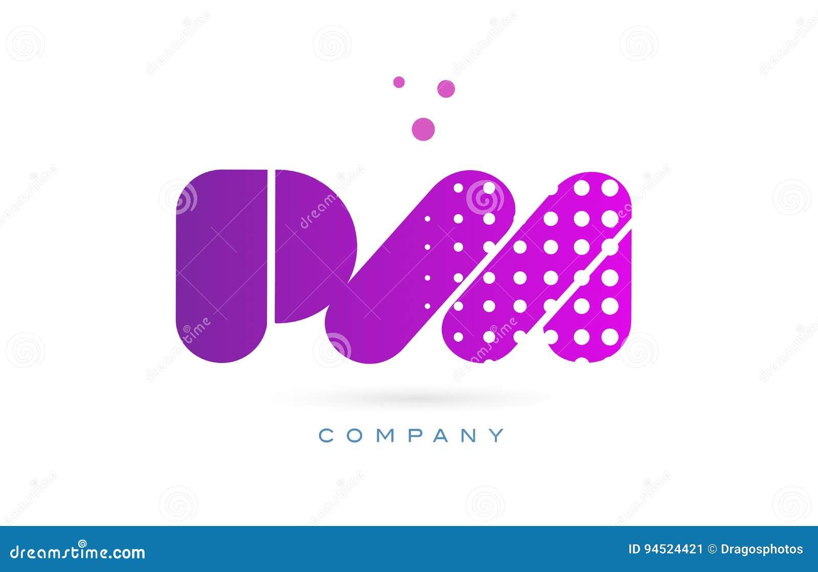 pm p l pink dots letter logo alphabet icon stock vector