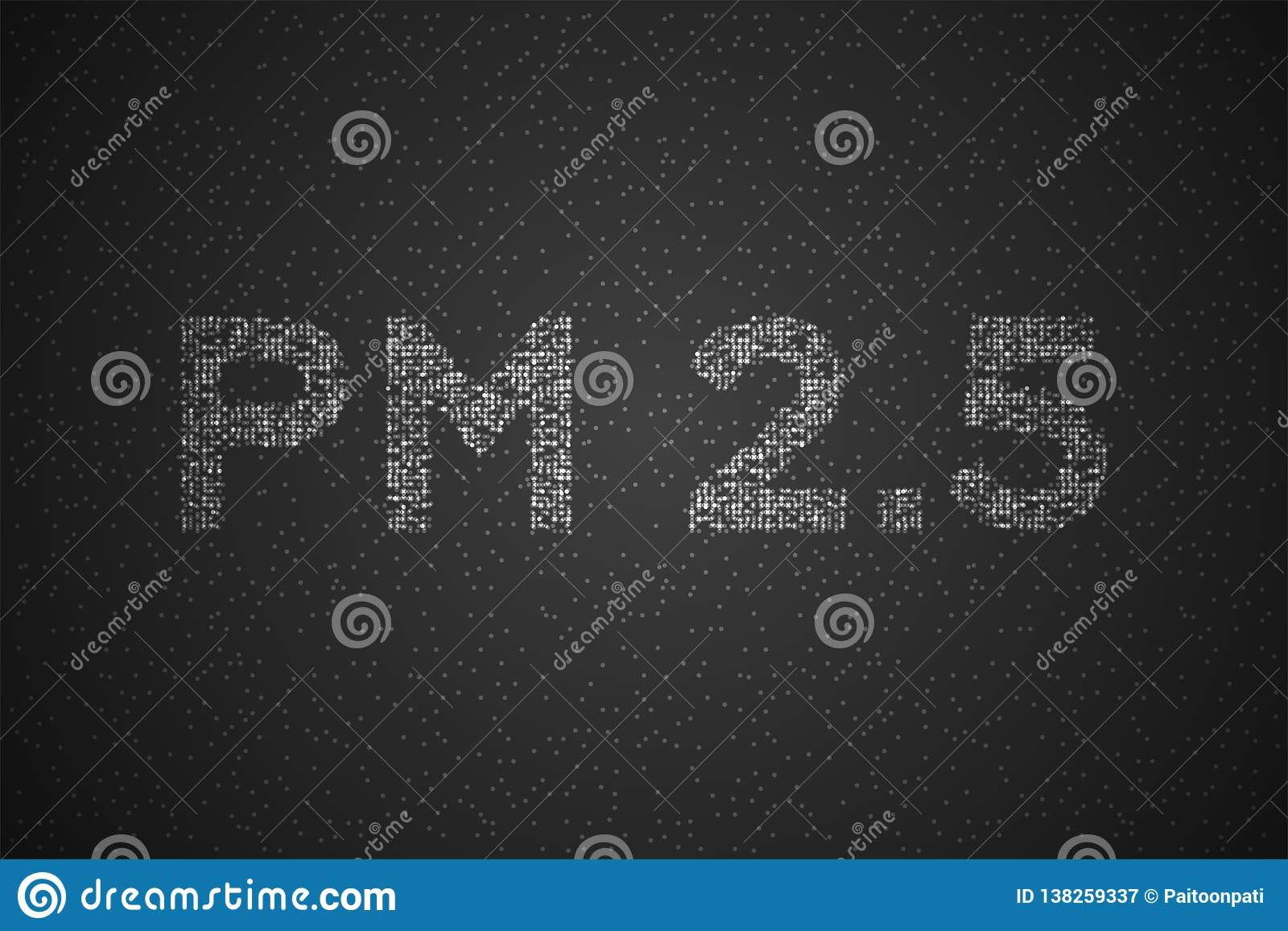 PM 2.5 text Abstract Geometric Circle dot pixel pattern, Pollution concept design white color illustration isolated on black