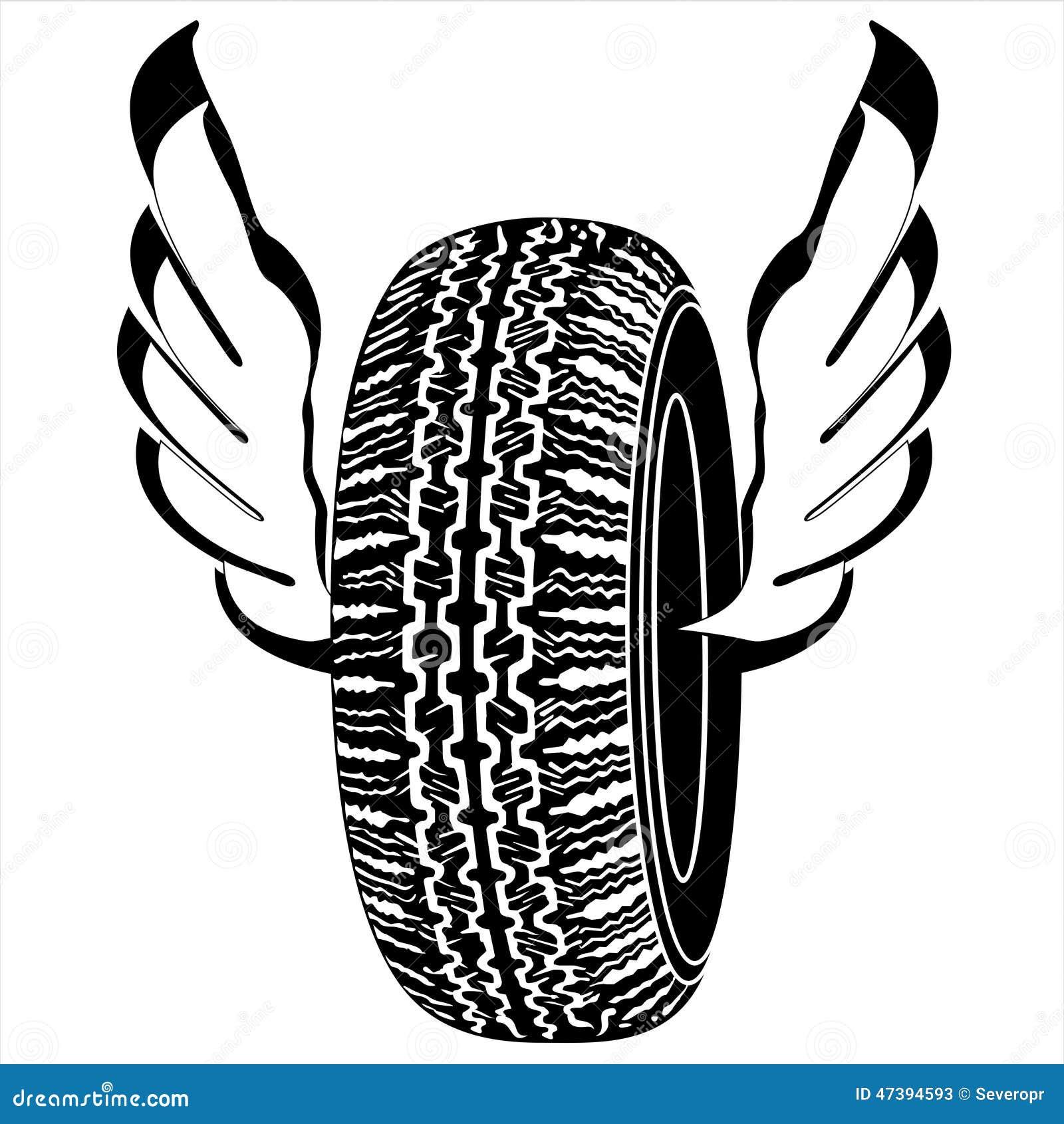 pneu de logo avec des ailes pour le transport routier
