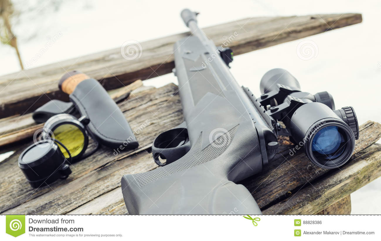 Pneumatic rifle with an optical sight
