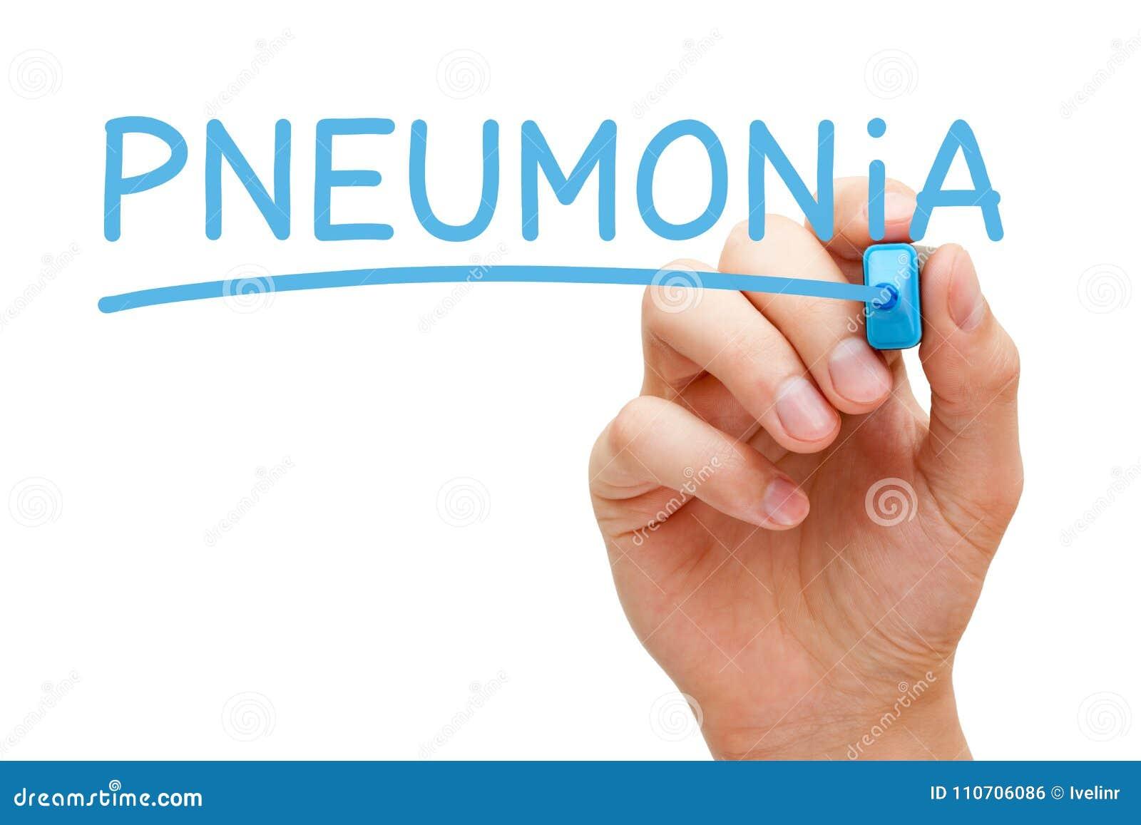 Pneumonia escrita à mão com marcador azul