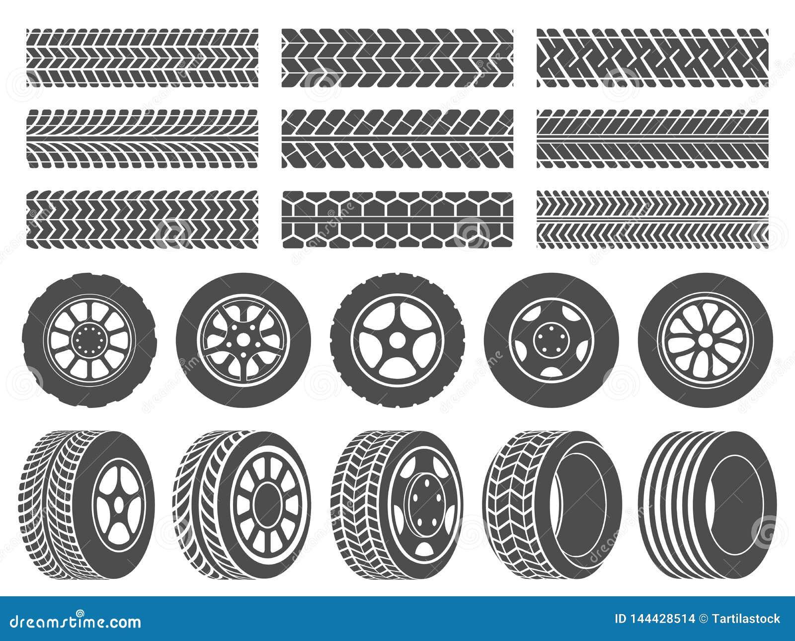 Pneus de roue Voies de bande de roulement de pneu de voiture, moto emballant les icônes de roues et l ensemble sale d illustratio