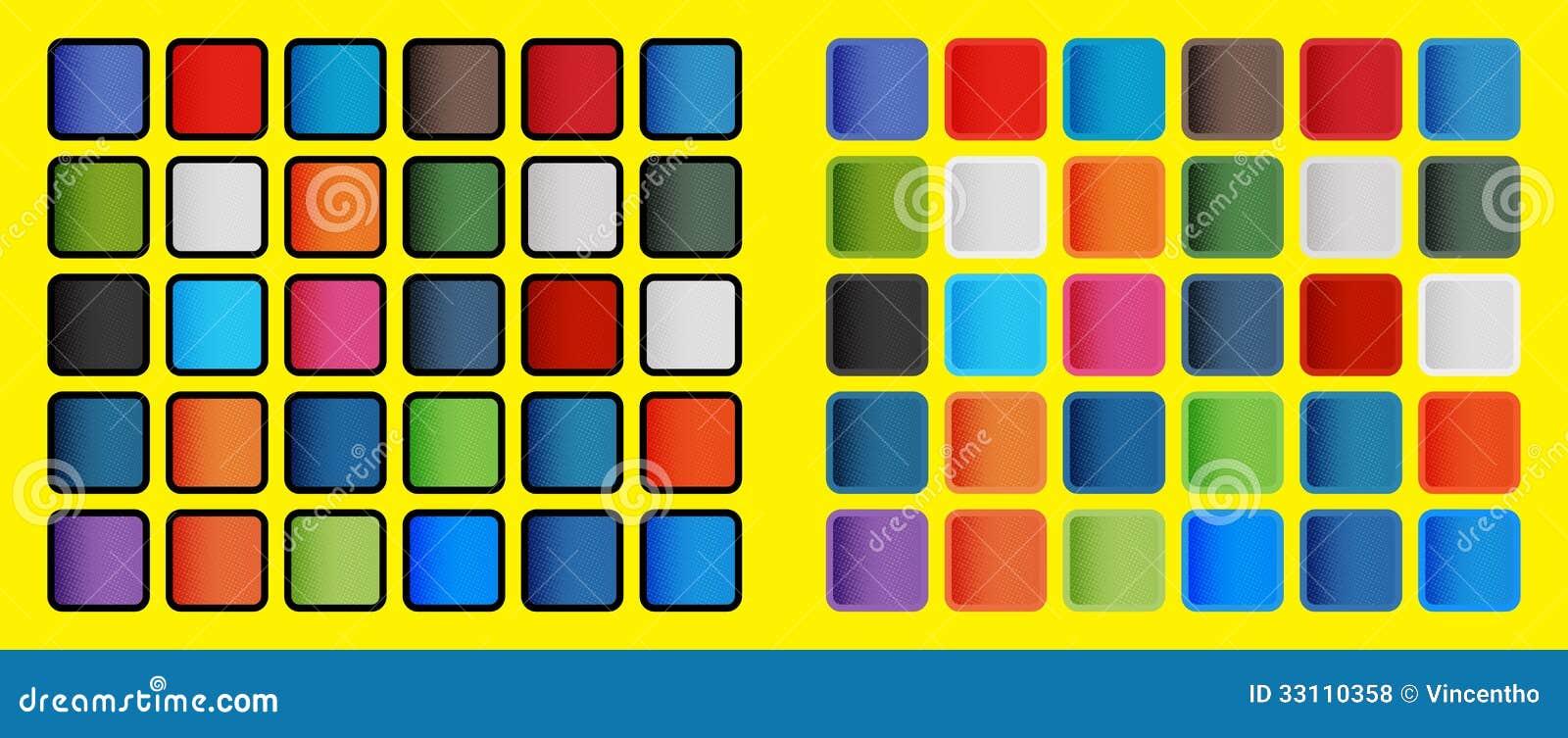 PNF Art Colours dos elementos sociais dos ícones dos meios