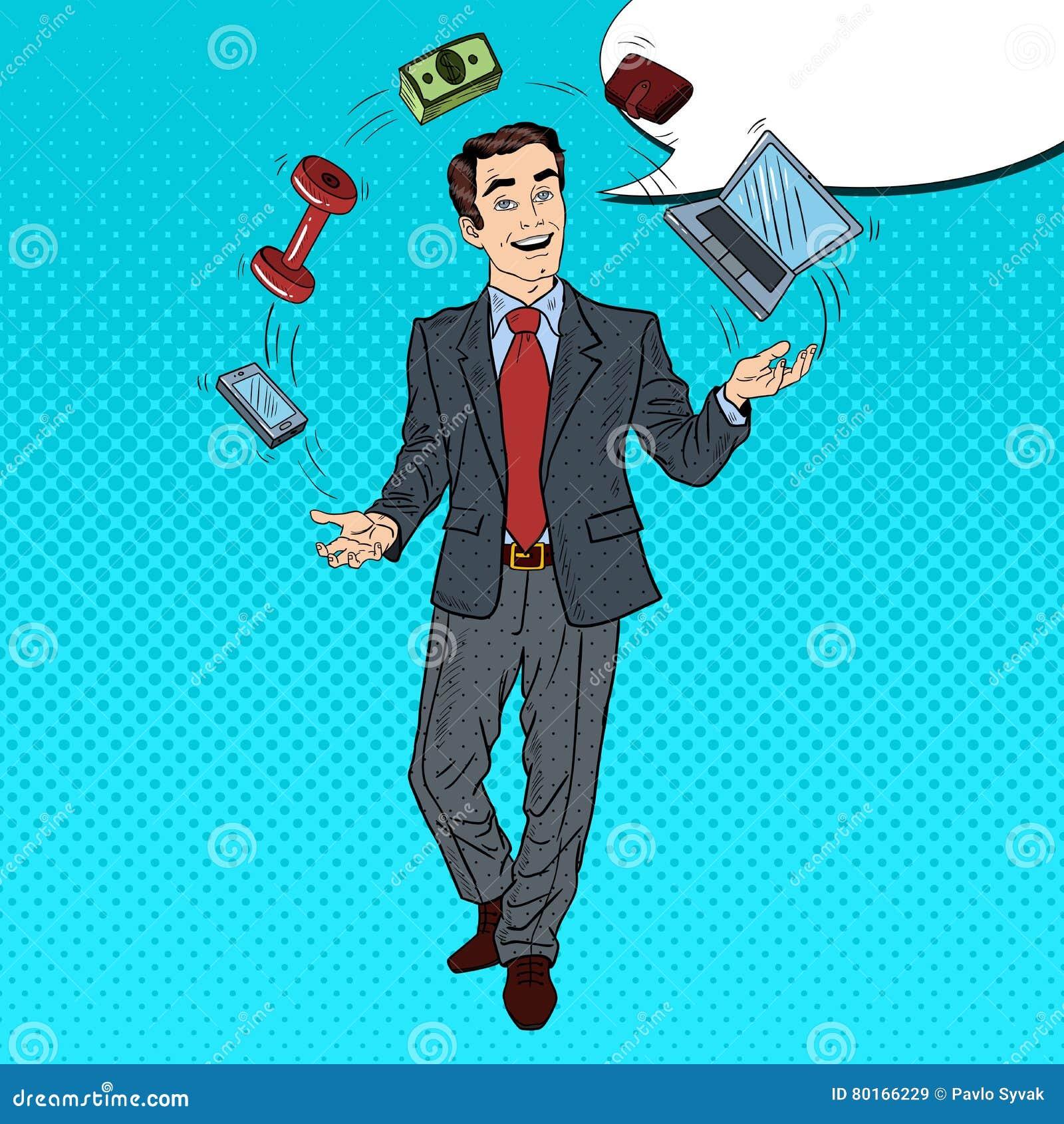PNF Art Successful Businessman Juggling Computer, telefone e dinheiro