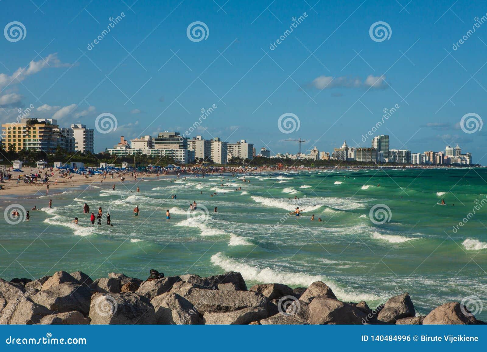 Południe plaża w Miami plaży, Floryda, Stany Zjednoczone