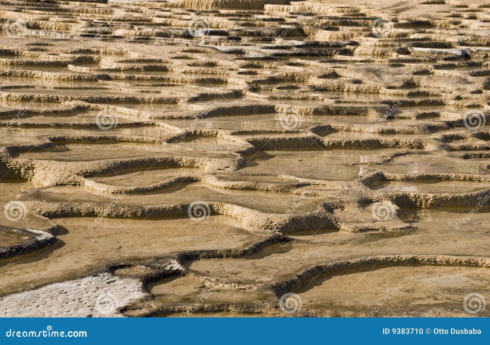 Poças calcificadas da água mineral