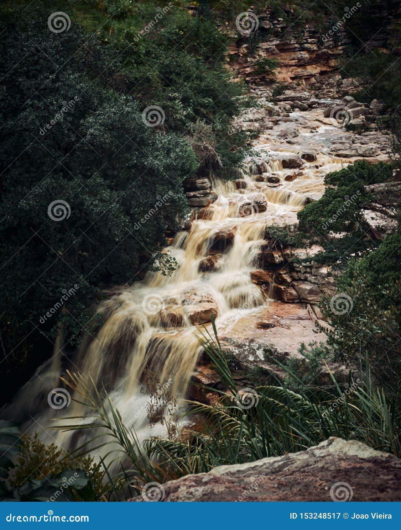 Poço robi diabo siklawie, Mucugezinho rzeka Lençóis, Bahia, -, Brazylia