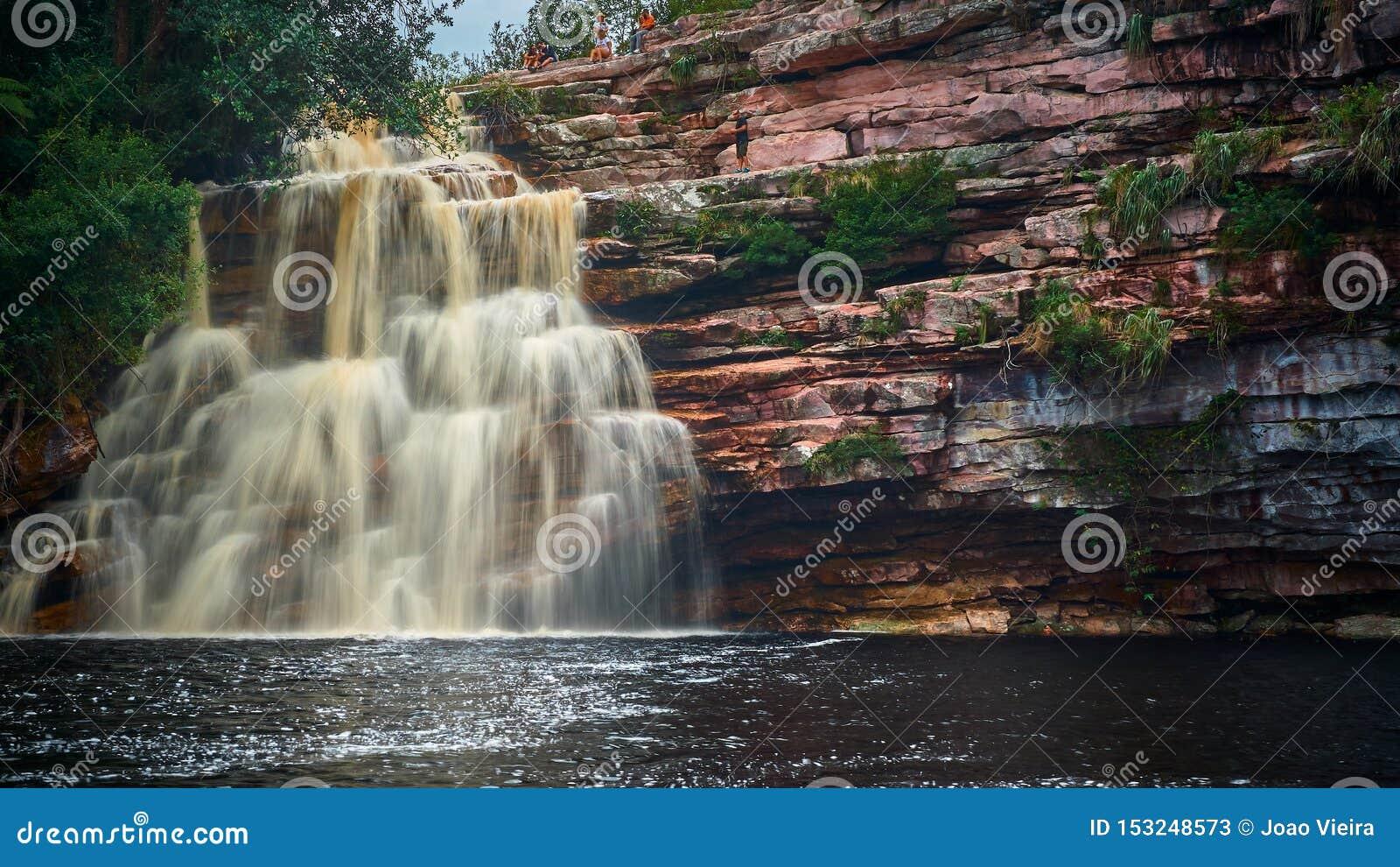 Poço tun diabo Wasserfall, Mucugezinho-Fluss, Lençóis - Bahia, Brasilien