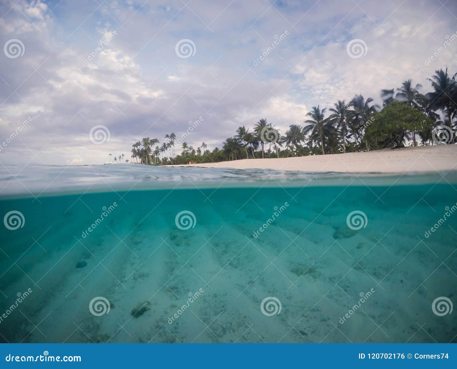 Połówki i połówek scross rozszczepiona sekcja jasny morze i opróżnia plażę