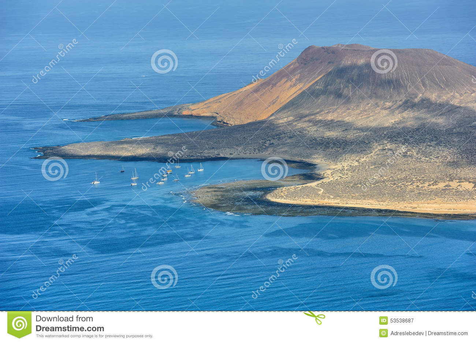 Południowa część Graciosa wyspa, wyspy kanaryjska, Hiszpania
