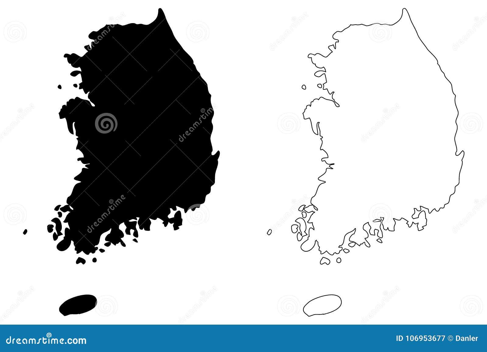 Południowego Korea mapy wektor