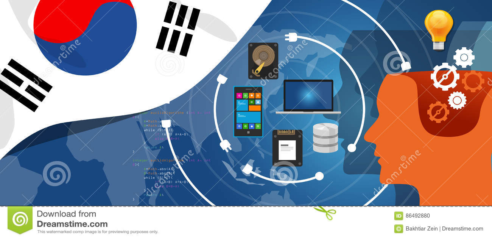 Południowego Korea IT technologie informacyjne cyfrowej infrastruktury złączeni biznesowi dane przez internet sieci używać