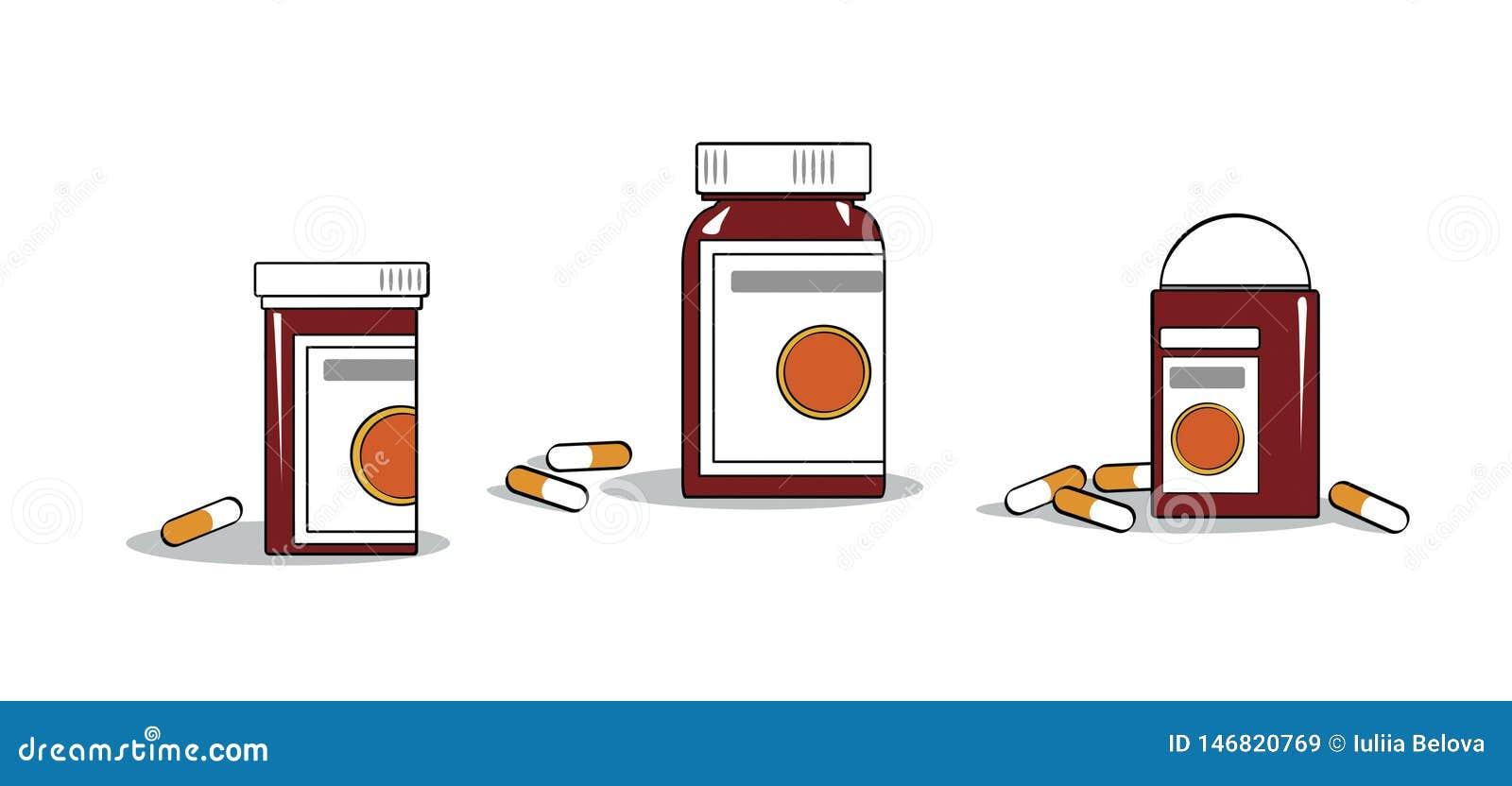 Poświadczać medycyny Buteleczki i kapsuły z medycynami na stole
