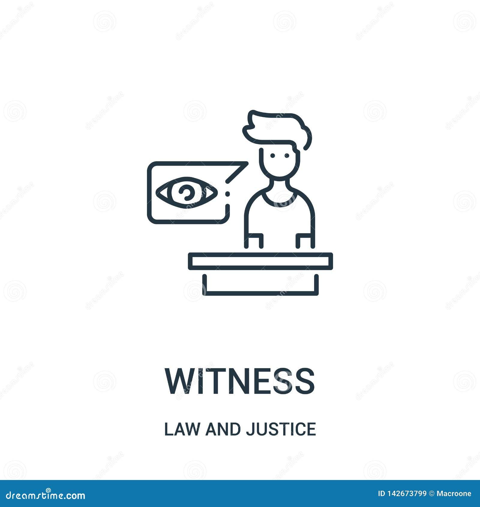 Poświadcza ikona wektor od prawa i sprawiedliwości kolekcji Cienka kreskowa świadka konturu ikony wektoru ilustracja Liniowy symb