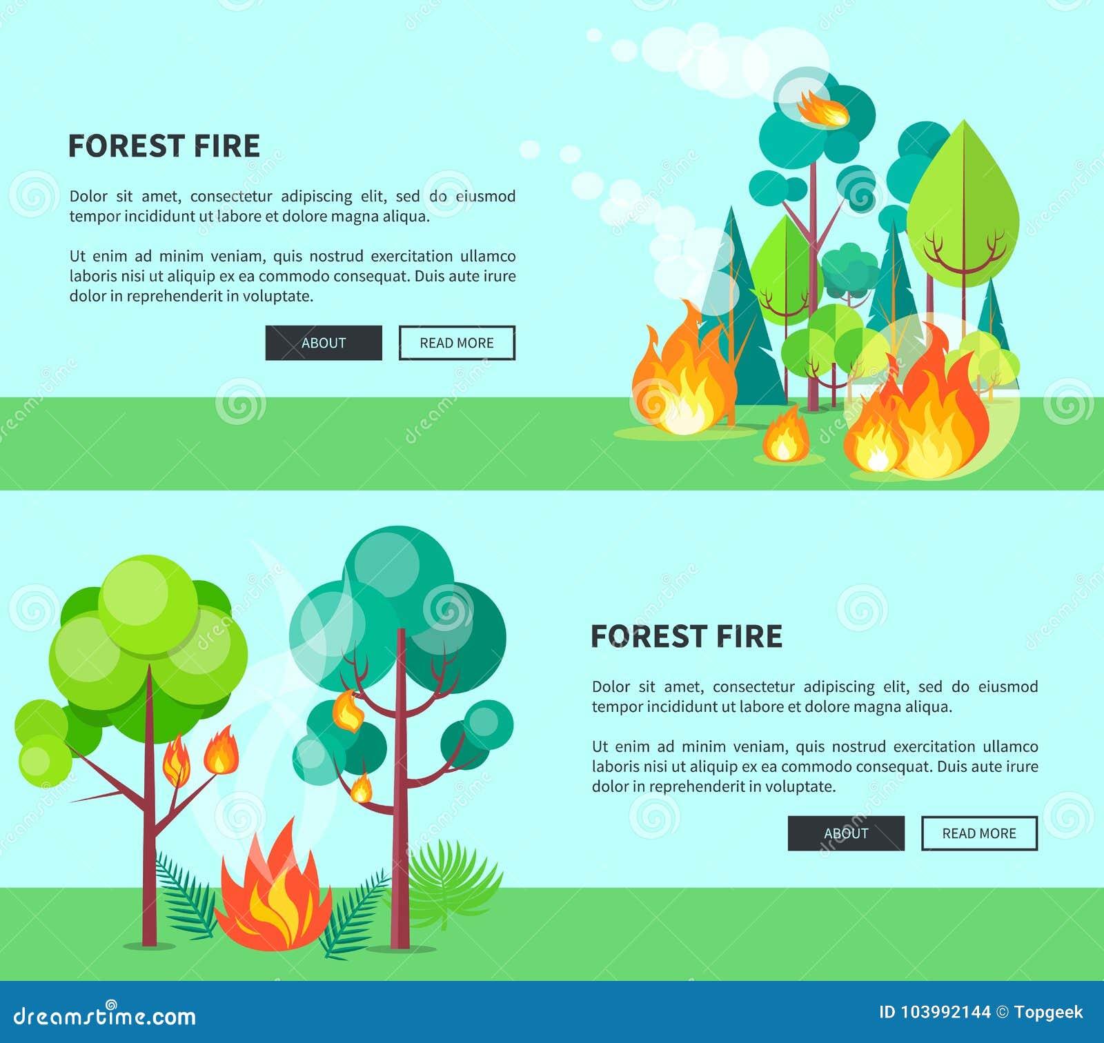 Pożar Lasu Ustawiający Kreskówka Plakaty Z Tekstem