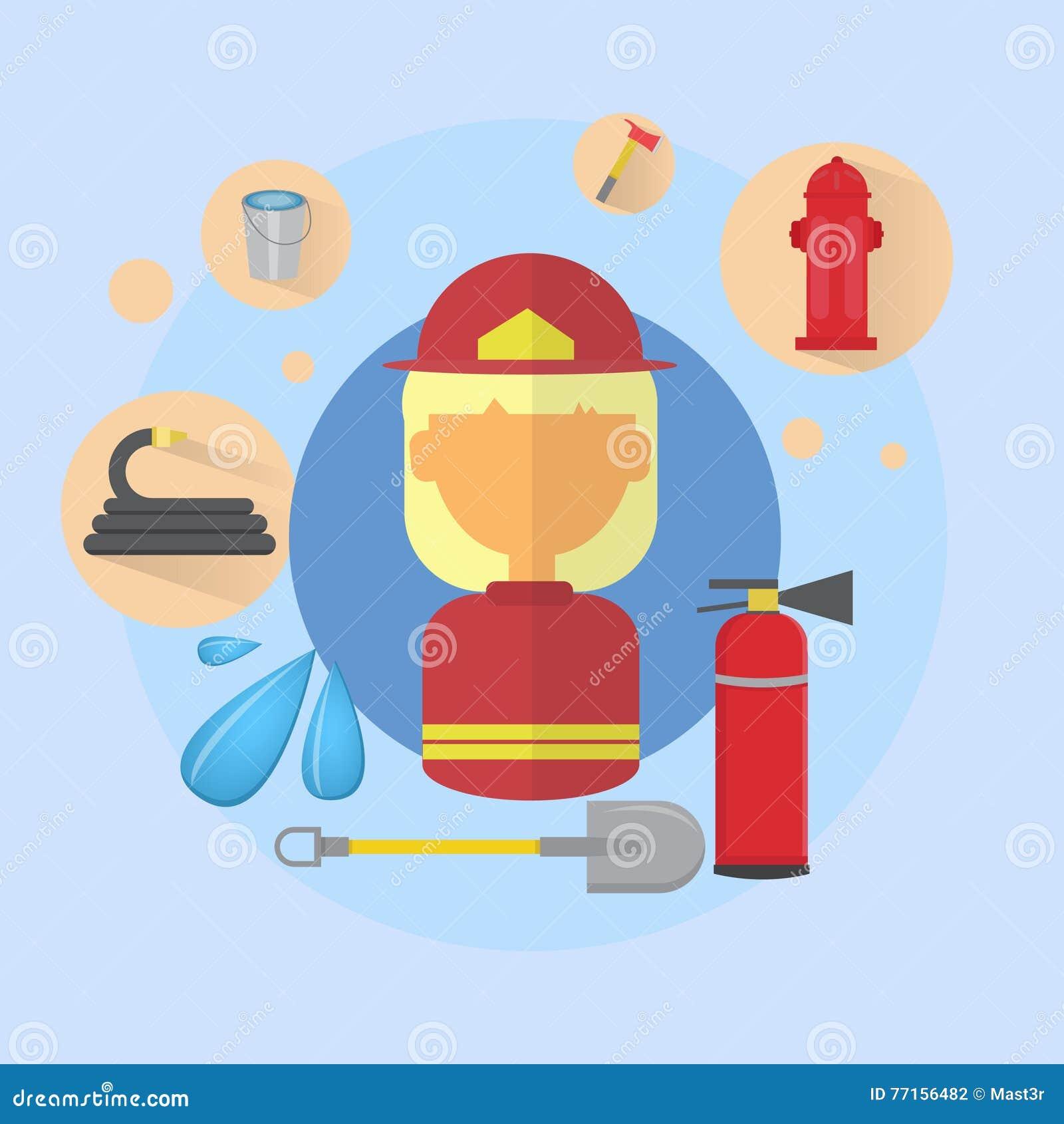 Pożarnicza kobieta strażaka pracownika ikona