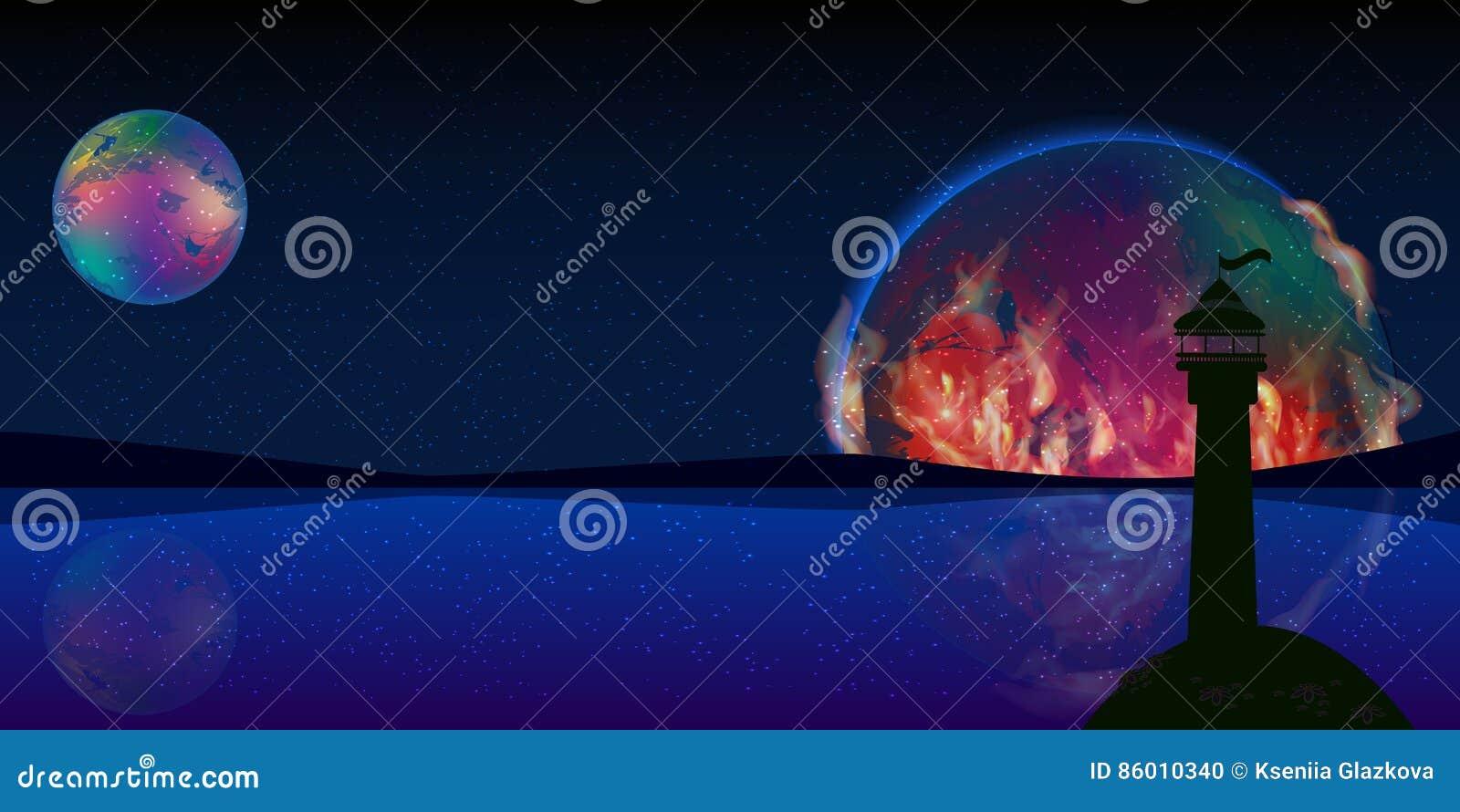 Pożarnicza planety sygnałowej przestrzeni latarnia morska