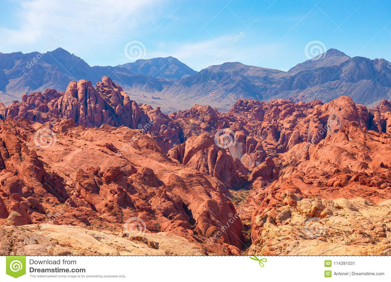 Pożarniczy jar w dolinie Pożarniczy stanu park, Nevada, Stany Zjednoczone