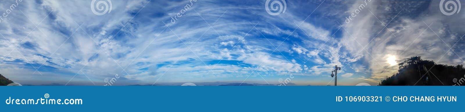 Południowego Korea niebieskiego nieba panoramiczny wizerunek