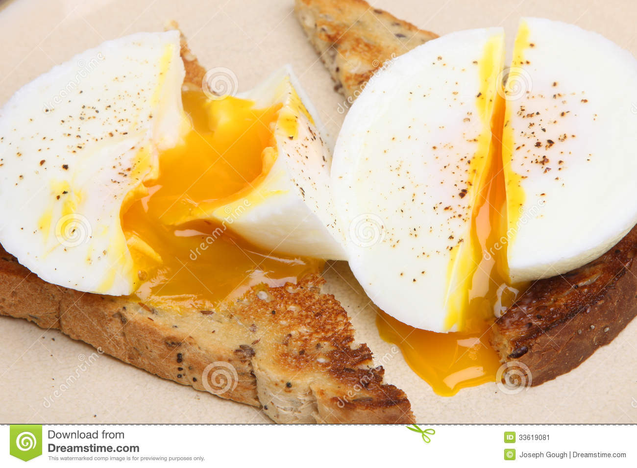 Poached Eggs On Toast Stock Image Image 33619081
