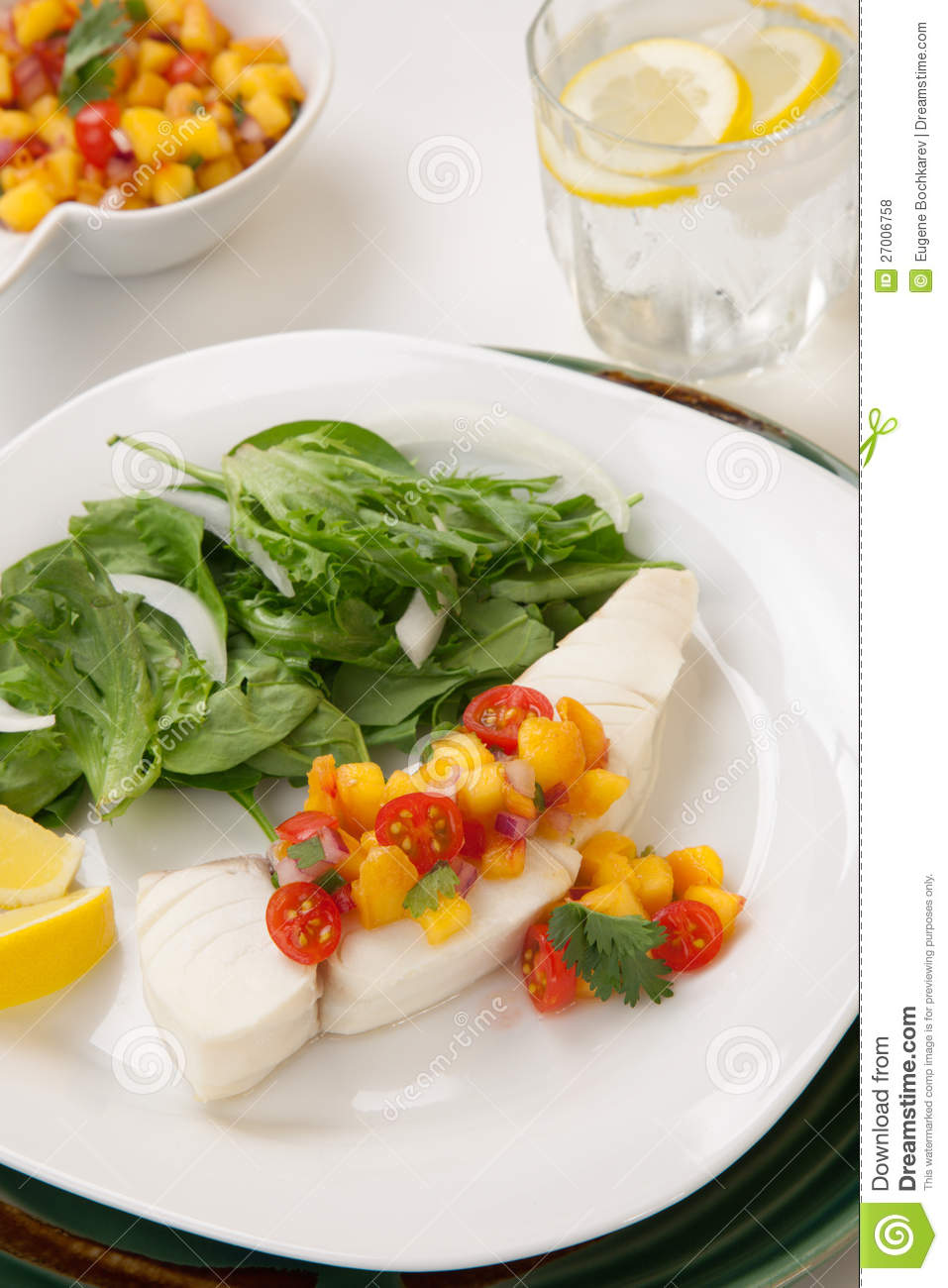 Poached Halibut And Peach Salsa Royalty Free Stock Photos - Image ...