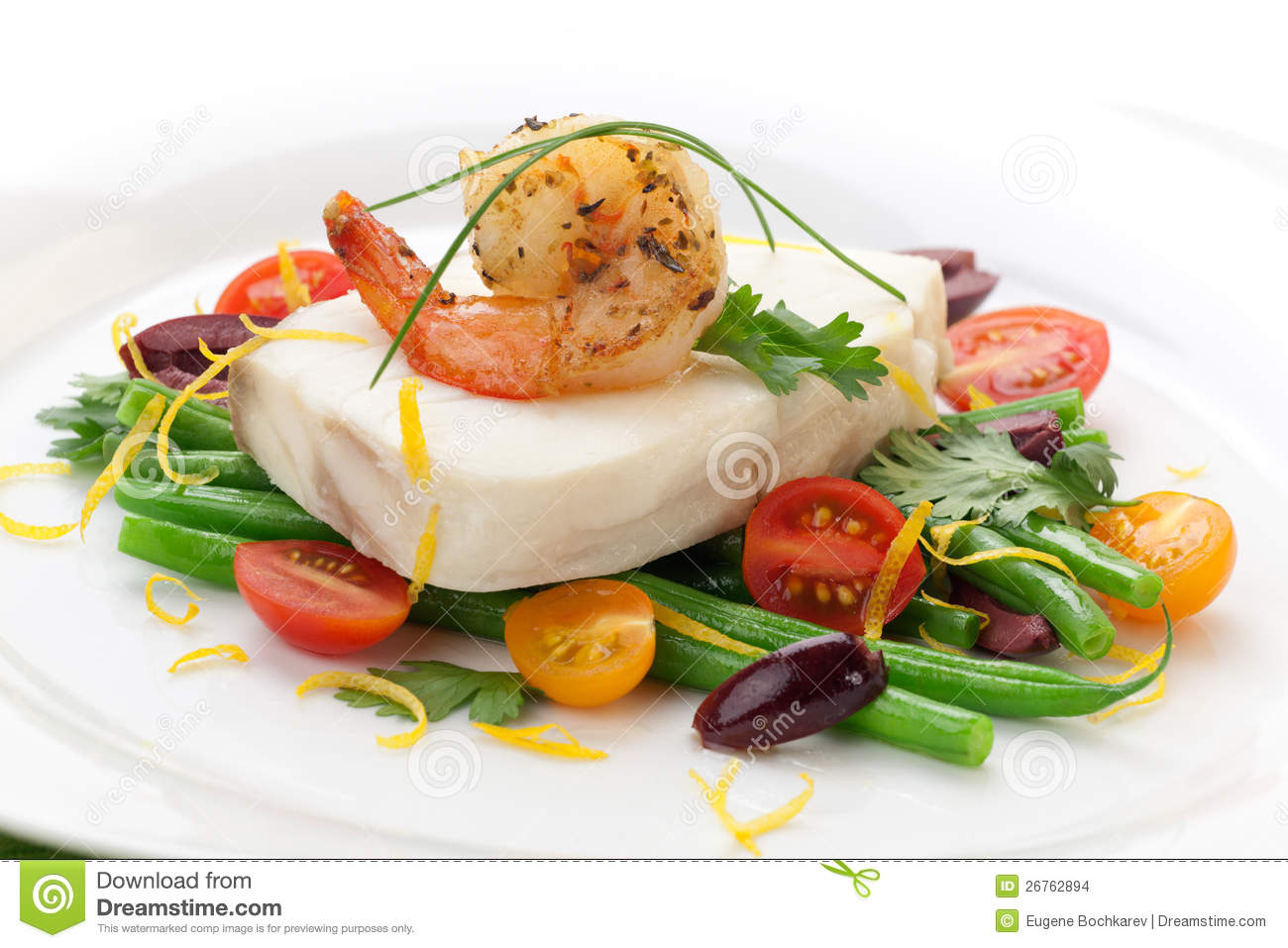 Poached halibut with spicy shrimp, green beans, cherry tomatoes, black ...