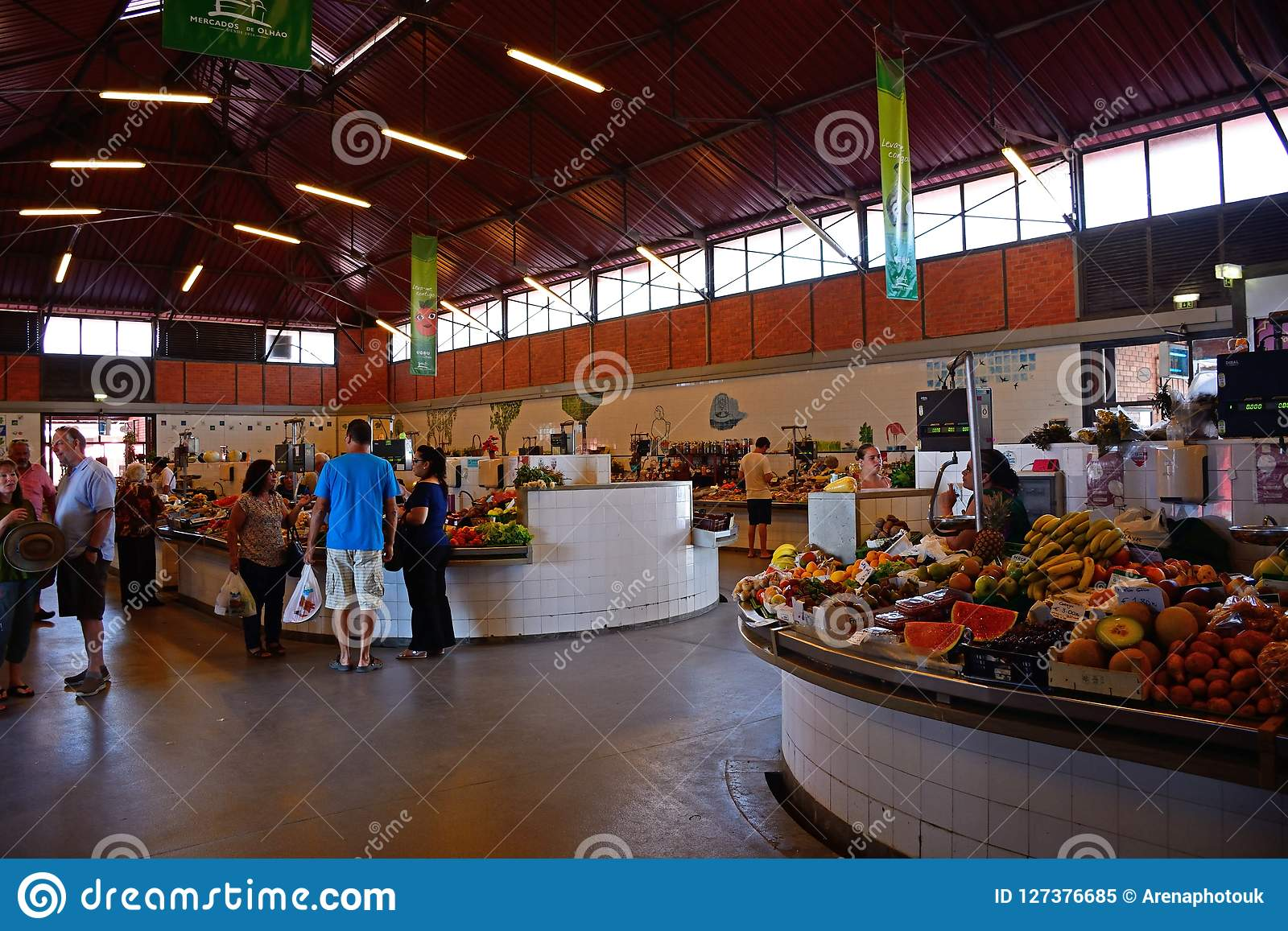 Indoor food market, Olhao.