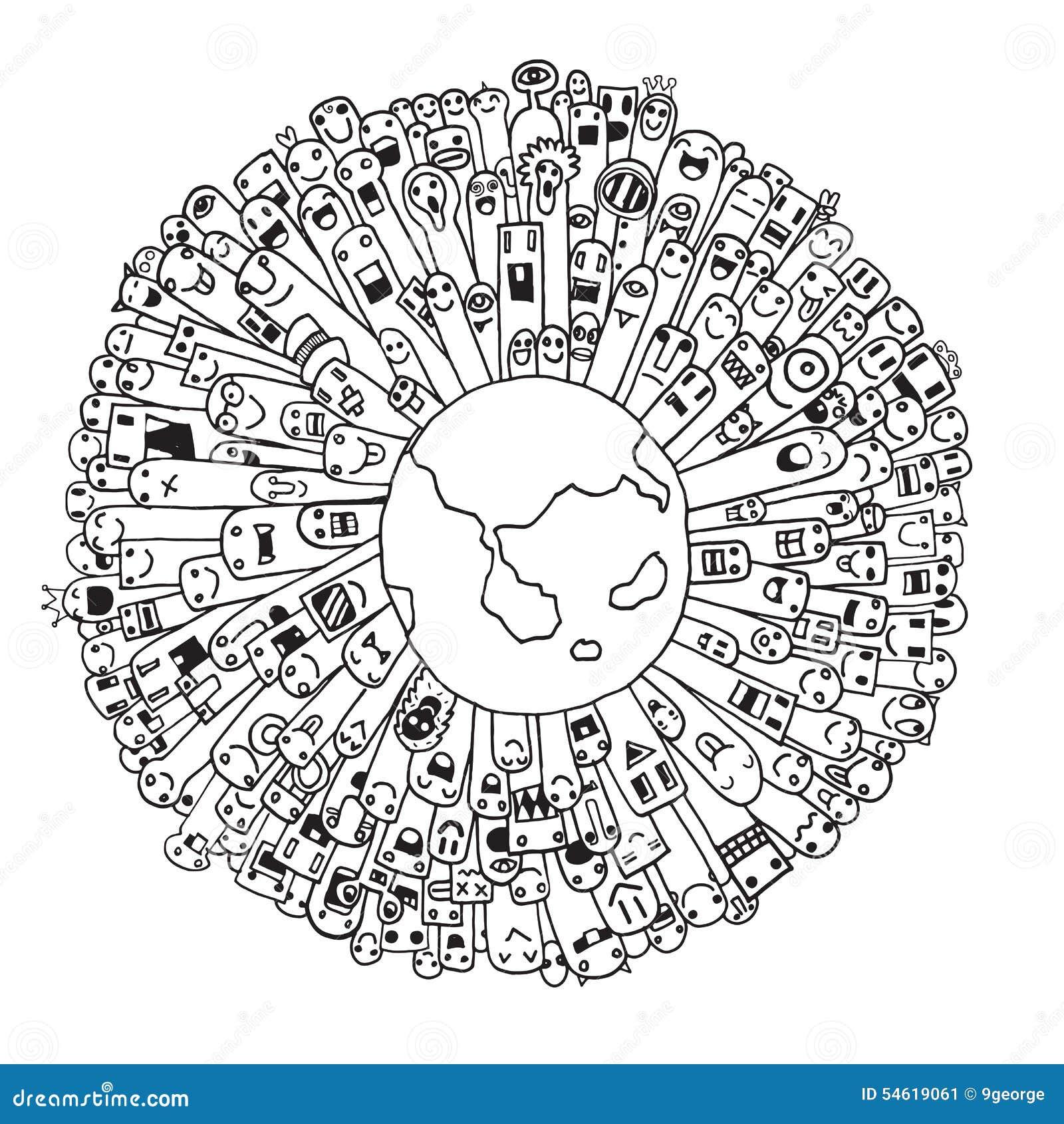 Población del monstruo de nuestro mundo (vector eps10)