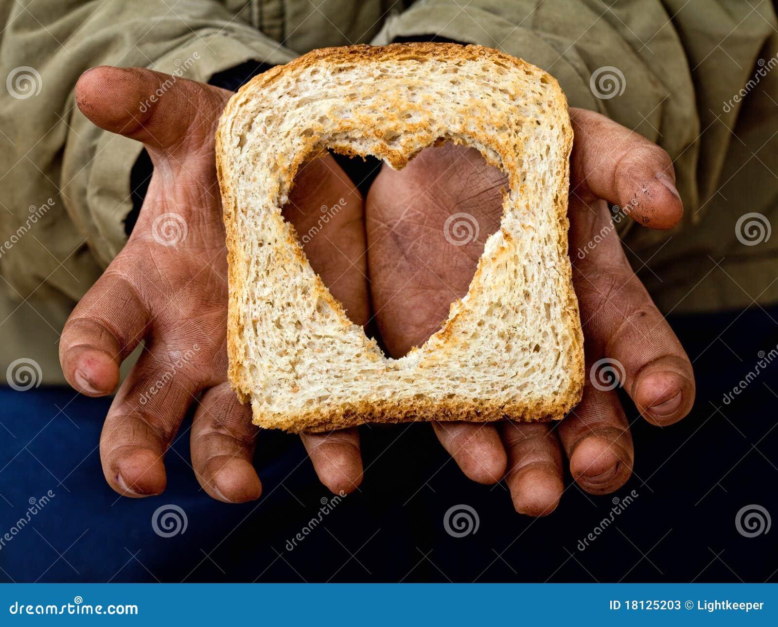 Pobreza y hambre de la relevación de la ayuda con amor