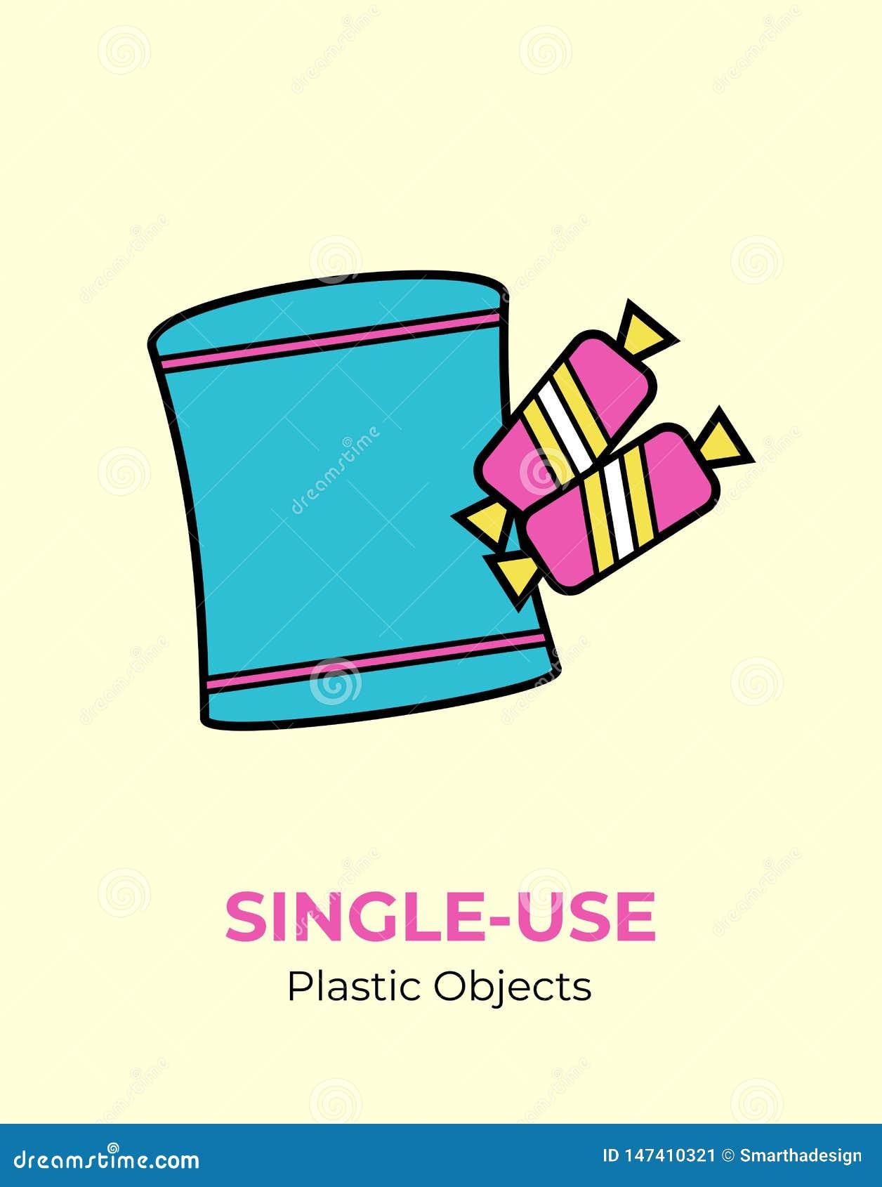 Poche de chips et enveloppe en plastique de sucrerie Illustration de vecteur du plastique de réutilisation à utiliser une seule f