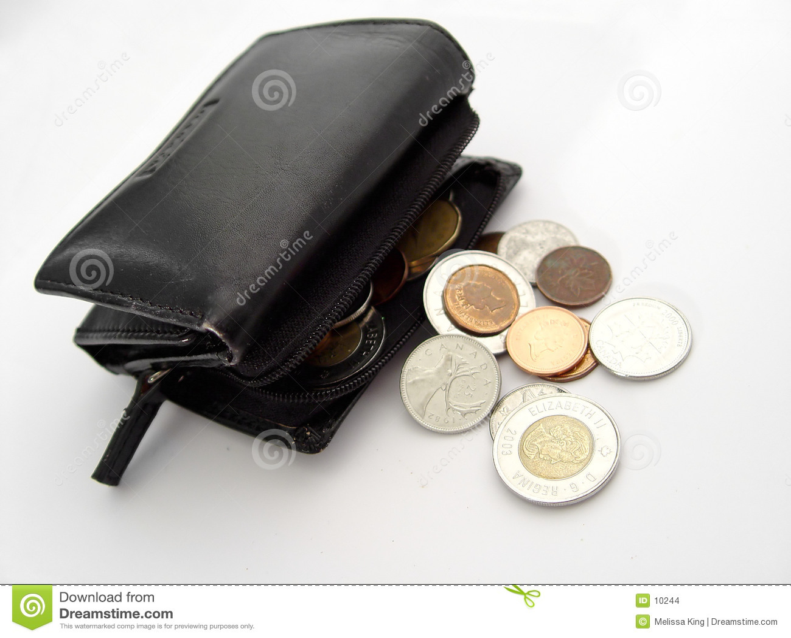 Pochette avec des pièces de monnaie