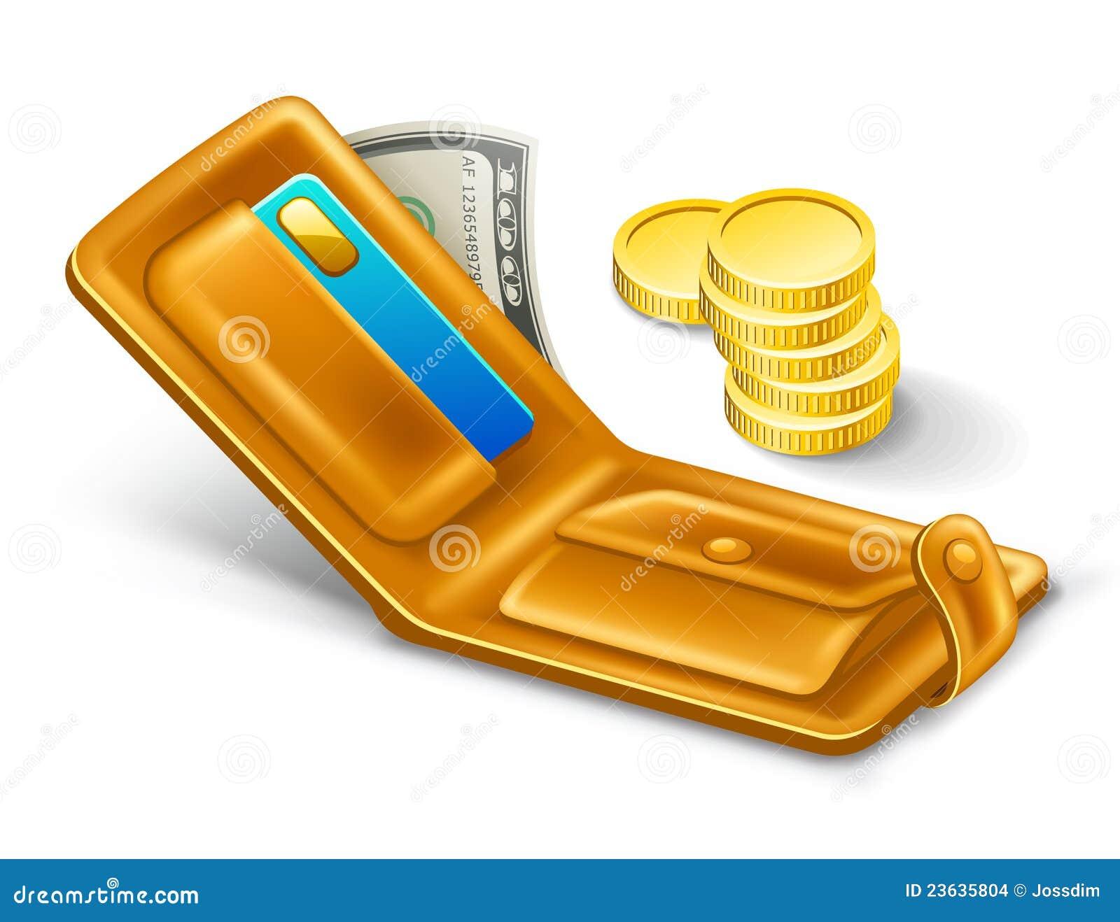 Pochette avec le dollar et les pièces de monnaie.