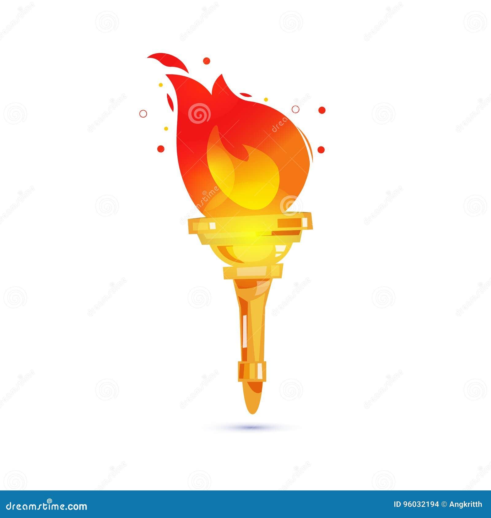 Pochodnia z pożarniczym płomieniem władzy i swobody pojęcie - wektor