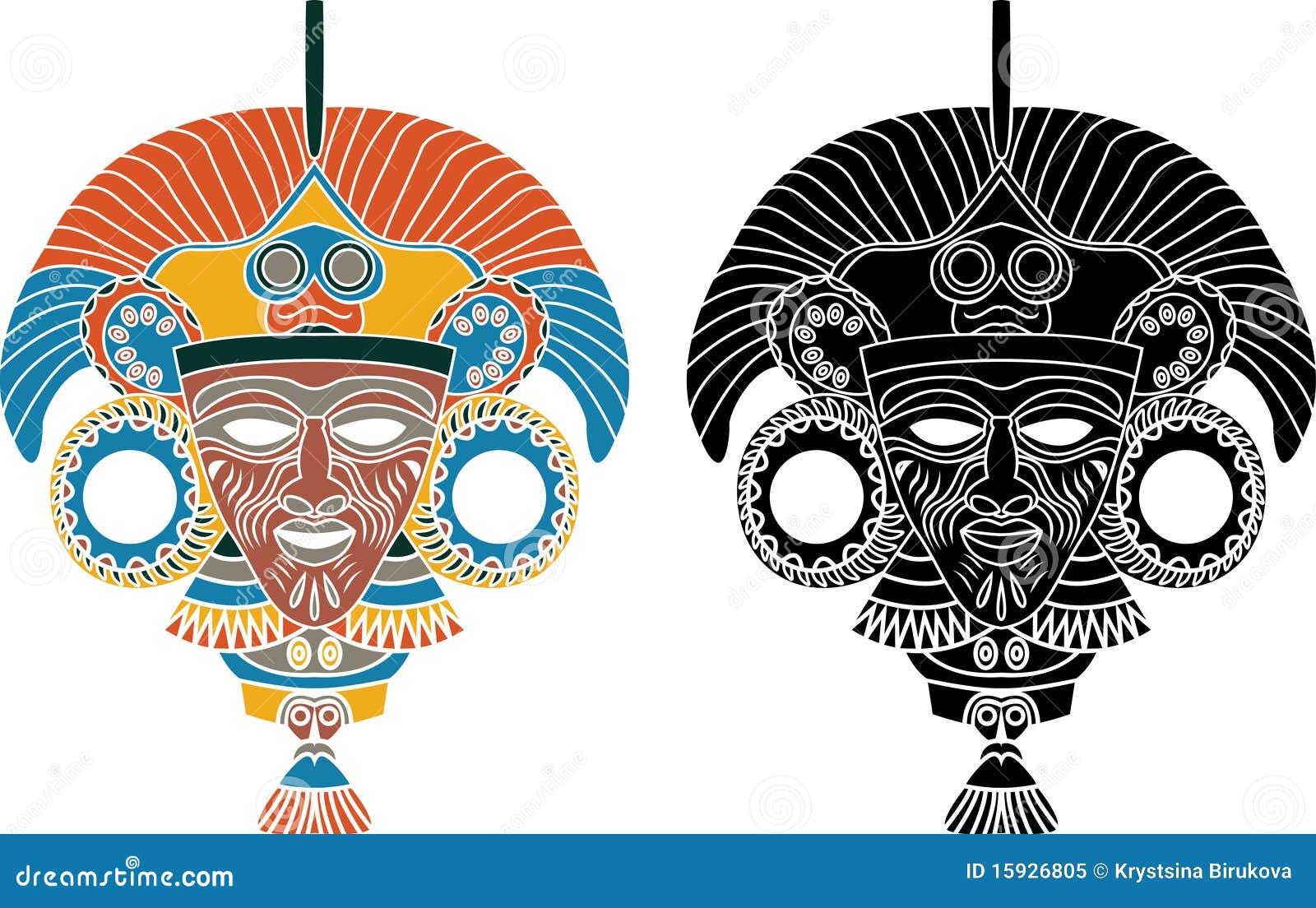 Pochoir azt que de masque illustration de vecteur illustration du histoire 15926805 - Dessin azteque ...