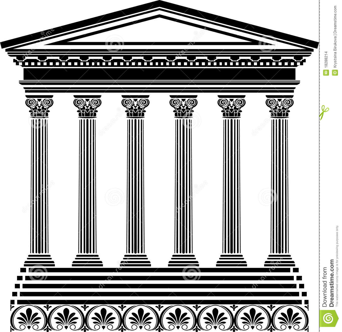 Pochoir grec de temple illustration de vecteur for Y griega exterieur