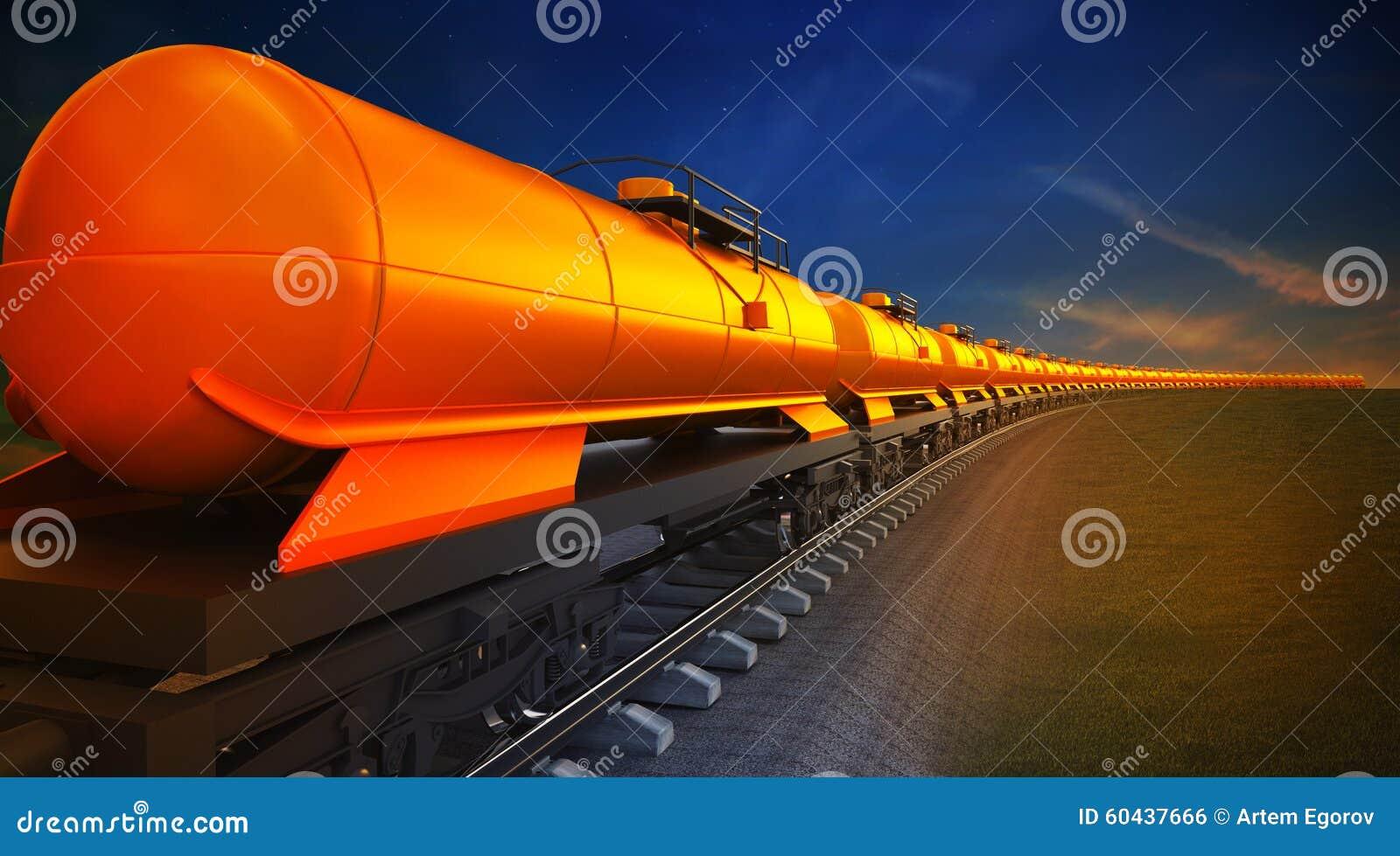 Pociąg towarowy z nafcianymi spłuczkami na nieba tle