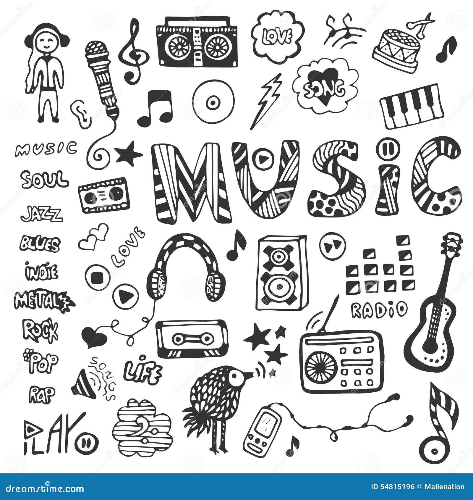 Pociągany ręcznie kolekcja z muzycznymi doodles Ustawiać muzyczne ikony również zwrócić corel ilustracji wektora