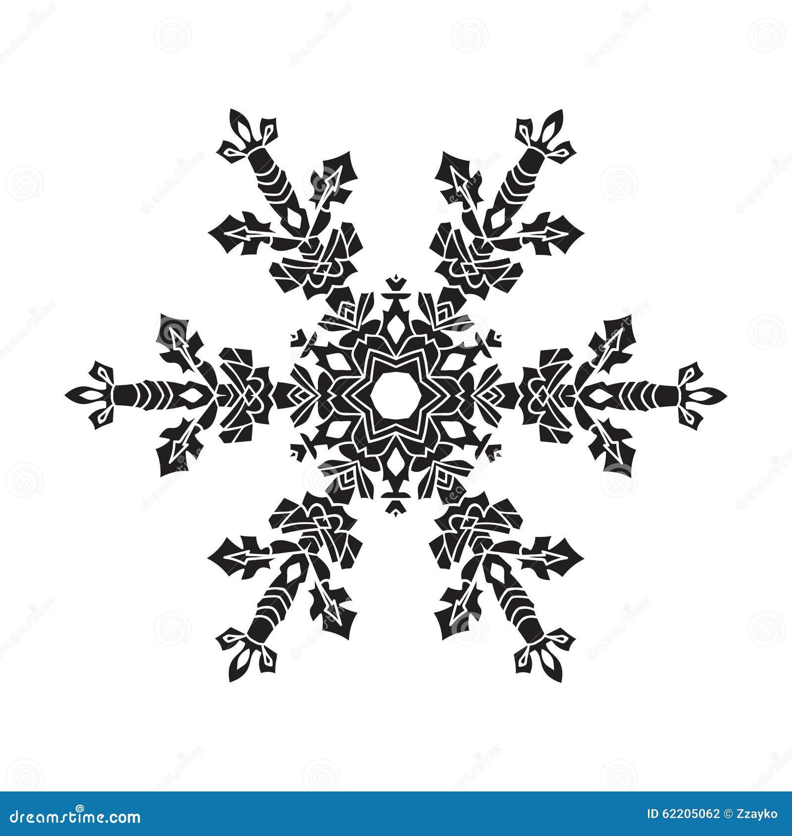 Pociągany Ręcznie Realistyczny Sylwetka Płatek śniegu Czerń