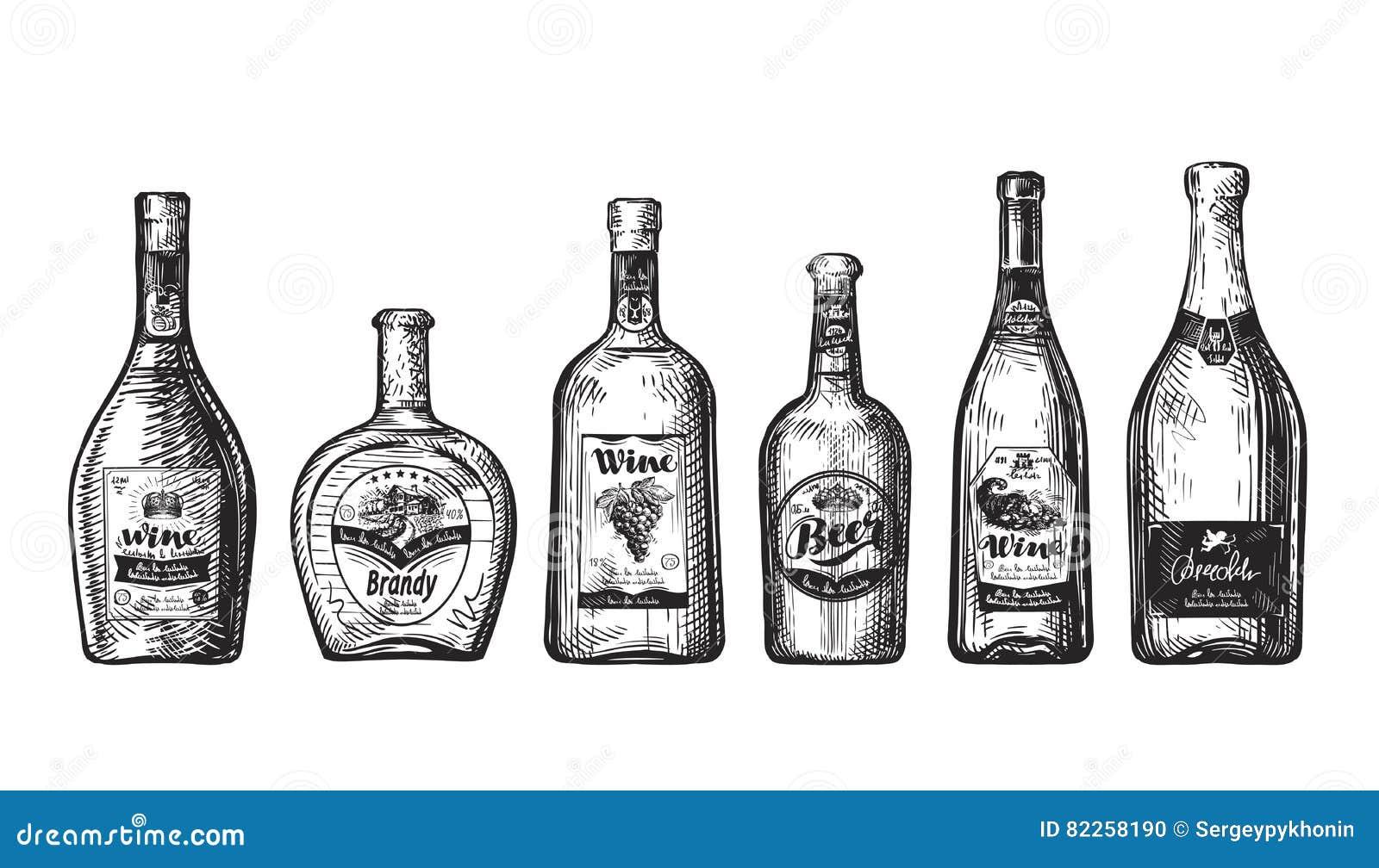 Pociągany ręcznie set butelki dla baru Alkoholiczni napoje, napój tak jak wino, piwo, brandy, szampan, whisky, ajerówka Nakreślen