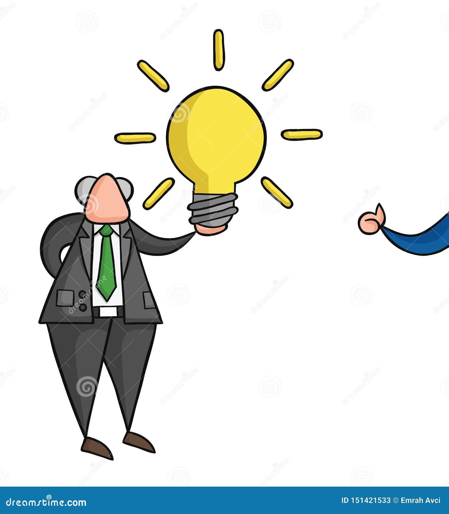 Pociągany ręcznie wektorowa ilustracja trzyma rozjarzonego żarówka pomysł, biznesmena pokazuje aprobaty szef i