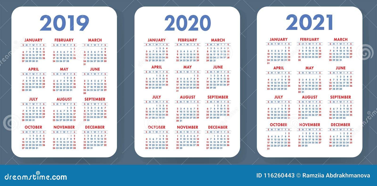 Pocket calendar 2019, 2020, 2021 set. Basic simple template. Wee