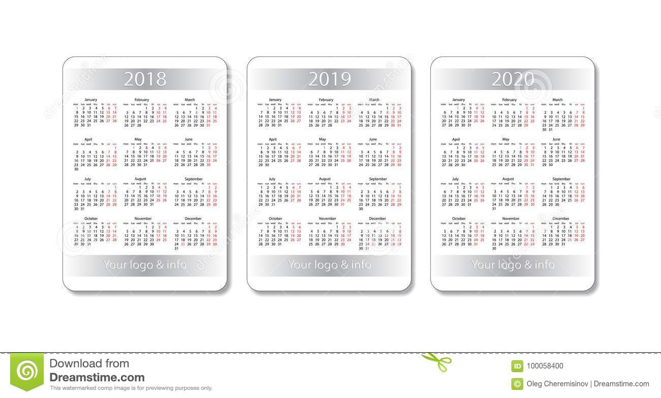 2020 2018 Pocket Calendar Vector Pocket Calendar Set. 2018, 2019 And 2020 Years. White