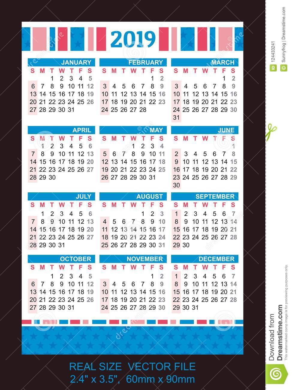pocket calendar 2019  start on sunday  vector stock vector