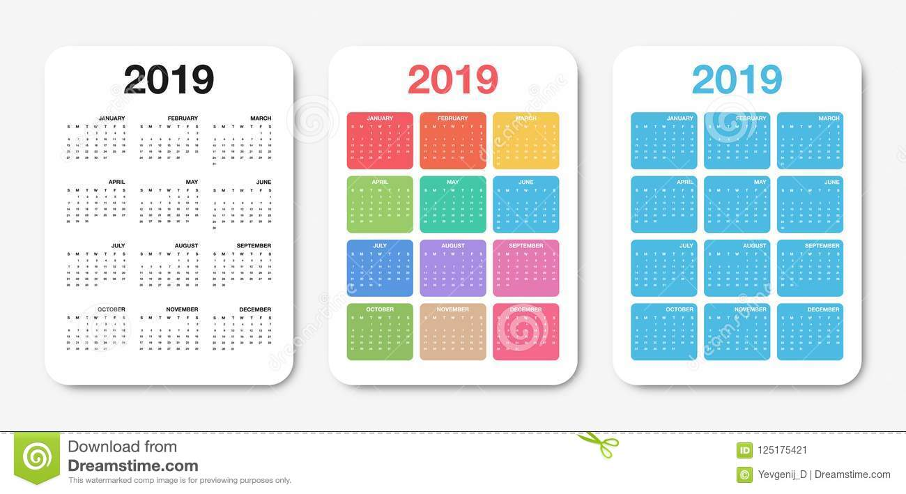 pocket calendar 2019 template  colorful compact calendar