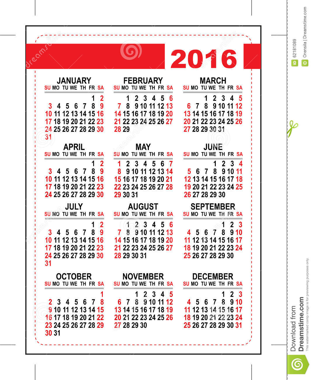 2016 pocket calendar. Template grid. First day Sunday. Illustration in ...