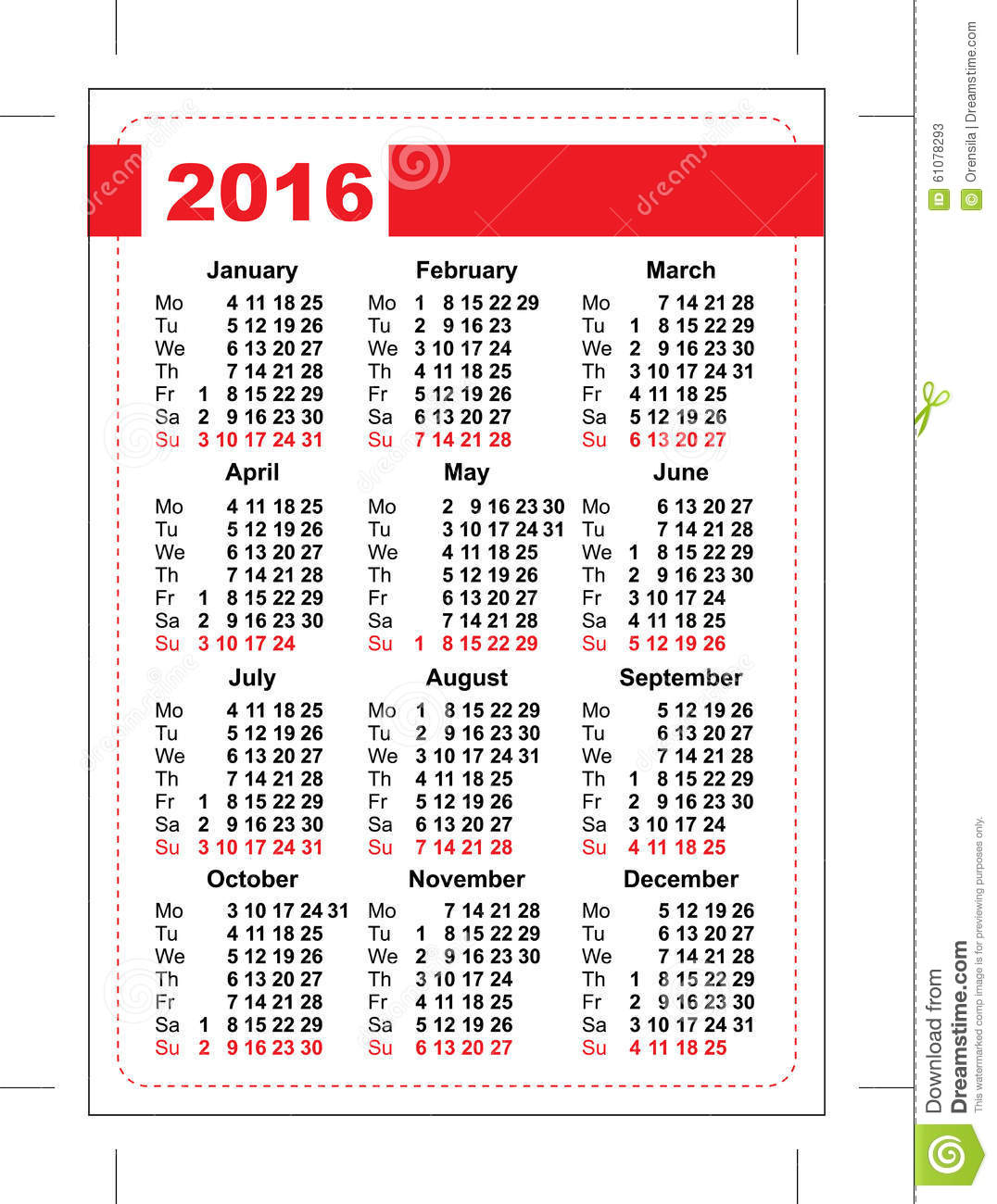Calendar Days : Pocket calendar template grid vertical orientation
